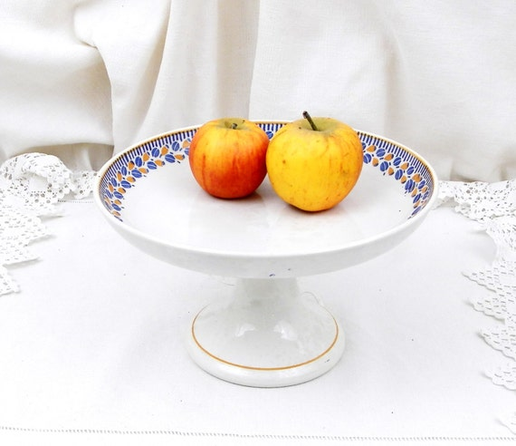 Antique French Porcelain Tazza Cake Stand White with a Simple Blue and Yellow Motif, Vintage Country Farmhouse Cottage Ceramic China Decor