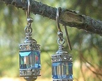 Dazzle Um Crystal Earrings - Swarovski Crystal, Sterling & Bali SIlver