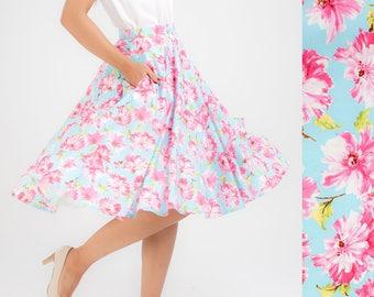 Pastel Blue Skirt Floral Skirt Full Circle Skirt Swing Skirt Midi Skirt Summer Skirt Plus Size Clothing Pinup Skirt Rockabilly Retro Skirt