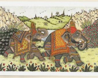 Indian elephants. Fine art card.