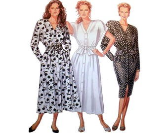 """Women's Button Front Dress Sewing Pattern, V-Neck  Misses' Size 6-8-10-12-14-16-18 Bust 30 1/2 - 40"""" Uncut New Look 6526"""