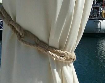 Beach Decor Curtain Ties, Nautical Rope Chain Link Drape Tie Backs, Coastal Theme Home Decor. Handmade with Yacht Rope