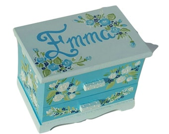 Personalized Child's Jewelry Box Wood Box Girls Blue Green Nursery Decor Castle