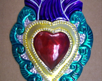 Large Colorful Painted Sacred Heart Milagro Ex Voto - Blue Flame - Mexico