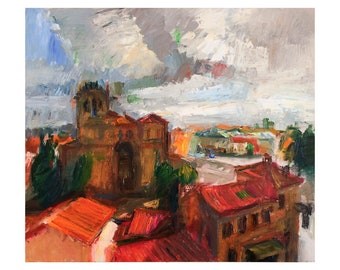 Avila after a Thunderstorm - Medieval Town Cityscape, Original Abstract Oil Painting Avila Walls City Spain Impasto Paintings Roofs Red Grey