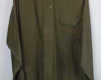 Vintage silk shirt, 90s clothing, olive green, shirt 90s, long sleeves, oversized