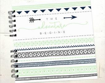 Baby Book |  Baby Memory Album | Navy Mint Tribal Arrow Monogram Personalized Wire Bound Baby Memory Book Keepsake Album
