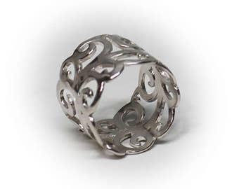 Sterling Silver Ladies Filigree Fashion Ring