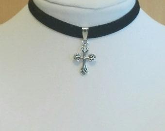 Black Velvet 9mm Choker Necklace Cross Pendant