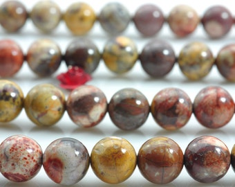47 pcs of Natural Birds Eye Rhyolite smooth round beads in 8mm (03306#)