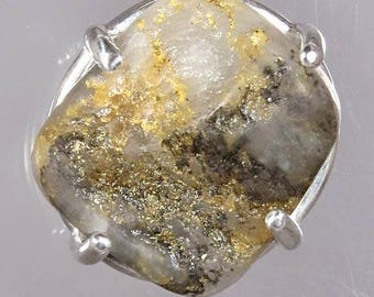 Raw Native Gold in Quartz  9.21 carats from California / Sterling Pendant and Chain/ NOW on SALE  / Free Shipping, Gift Wrap