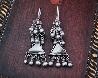 Tribal Rajasthani Earrings - Indian Tribal Silver Earrings - Rajasthani Jewelry - Ethnic Tribal Earrings - Rajasthani Tribal Jewelry
