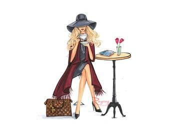 Fashion Poster,Fashion Print,Fashion Sketch,Fashion wall art,Fashion art,Fashion Illustration,Girly sketch,Coffeelover gift,Title-Lady Latte