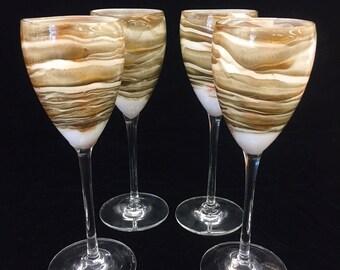 Steven Maslach Earth Art Glass Wine Glasses