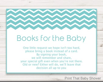 Baby Shower Invitation Insert - Books For Baby, Baby Shower Inserts, Printable Invitation Insert, Books For The Baby Card, Turquoise Chevron