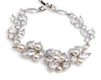 bridal bracelet wedding jewelry Swarovski white cream round pearl cluster bracelet clear white cubic zirconia multi shape vine bracelet