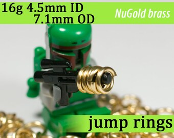 16g 4.5mm ID 7.1 mm OD NuGold brass jump rings -- 16g4.50 open jumprings supply supplies