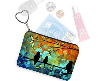 MadArt  Zipper Coin Purse Keychain Fob  Business Card Case Small Zipper Pouch Birds on a Wire blue orange bridesmaid gift RTS