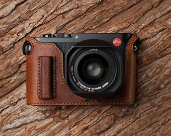 MS Edition Leica Q TYP 116 Handmade Half Case Cowhide leather insert Camera bag Protector Holster sleeve 2 handGrip style Made TO Order