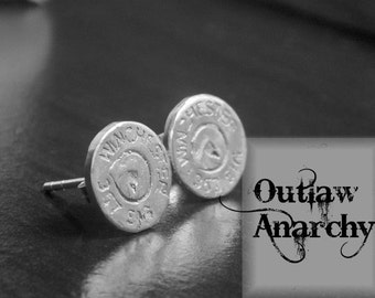 GunSlinger. Sterling Silver 357 Winchester Struck Bullet End Replica posts. Handmade Lost wax Stud Outlaw earrings. Made to Order