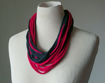 Recycled T-Shirt Necklace Red Black