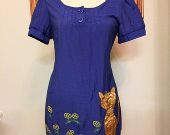 Vintage Babydoll Embroidered Cat Dress