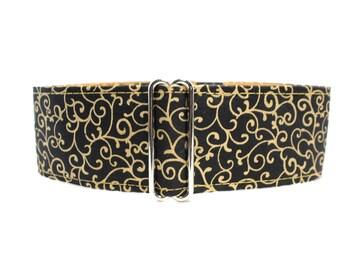 Black Martingale Dog Collar, Black and Gold Martingale Collar, Swirl Martingale Collar, Christmas Martingale, Black and Gold Dog Collar