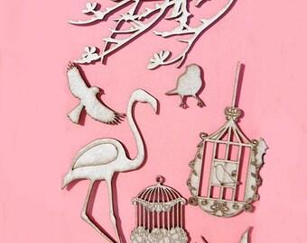 Set of 9 PCs embelissements wood nature motif and birds