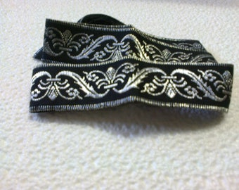 Black Lace with embroidered Silver 3cm wide 90 cm