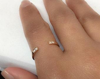 14k rose gold Open Cuff Ring w/ White Diamond