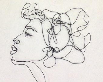 Kiss Profile   Wire Wall Art   Woman   Female Portrait   Wall Sculpture