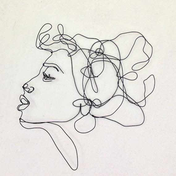 Kuss Profil Draht Wandkunst Frau Porträt Wand-Skulptur