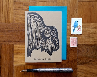 American Bison, Letterpress Note Card, Blank Inside