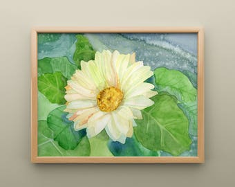 Gerber Daisy Watercolor Print