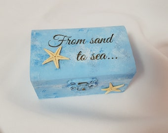 Beach Theme Wedding Ring Bearer Box, From Sand to Sea and Me to We, Nautical Wedding