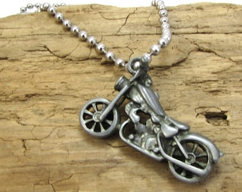 Motorcycle Necklace, 40x26mm Double-Sided Motorcycle Pendant, 2.4mm Ball Chain, Item 1742n