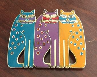 Laurel Burch Siamese Cats Brooch Pin - Retired Design - Vintage