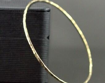 Solid 14k Gold Bangle - Hammered 14k or 18k Gold Bangle - Skinny Bangle Bracelet - Rose or Yellow Gold