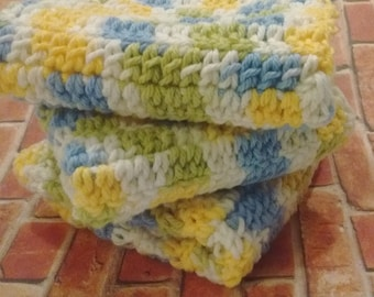 Cool Breeze Washcloths in Blue, Yellow, Green and White - Set of Three Crocheted Wash Cloths for Bathroom or Kitchen Dishcloths, Dish Cloths