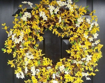 SPRING WREATH SALE Spring Wreath- 20 inch Yellow Forsythia Wreath- Year Round Home Decor- Summer Wreath