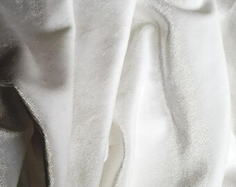 White Stretch Velvet Fabric, Velvet Fabric by the Yard, Limited edition fabric