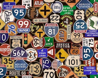 Quilting Treasures Motorin by Dan Morris Road Signs Black 26354-J 1/2 Yard Cotton Fabric for Quilting Free Shipping