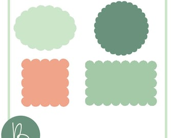 Scalloped Shapes SVG Files - Circle, Oval, Square, Rectangle