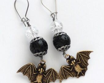 Bat Earrings, Goth Earrings, Lava Bead Earrings, Flying Bat Jewelry, Vampire Bats, Ice Crystal Earrings, JewelryFineAndDandy, SRAJD