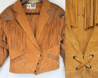 Vintage Suede Fringe Jacket - Western, SouthWest Style Boho Hippie Brown/Orange