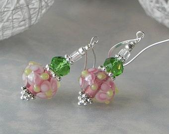Green Pink Earrings Floral Earrings Dangle Earrings Lampwork Earrings Beadwork Earrings Pink Flower Earrings Pink Glass Earrings Handmade