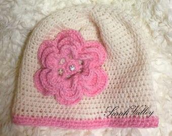 Little girl's flower hat, toddler girl pink flower hat, girl toddler hat gift, pink flower hat for young girl, little girl's hat gift
