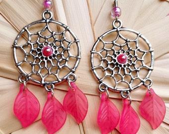Dream Catcher Pink Earrings