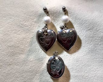 Silver Heart Locket Earrings Pierced and Hinged Oval Locket Pendant for Necklace or Charm #B980