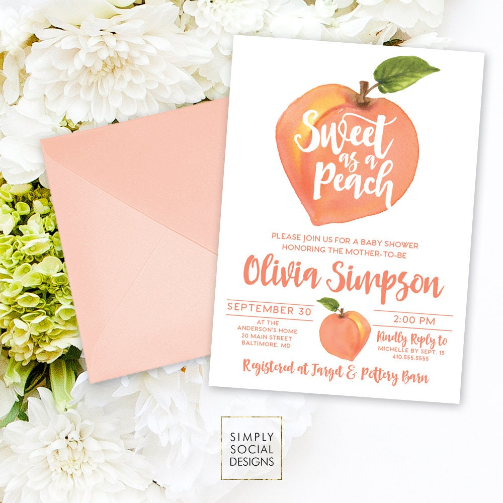 Peach Baby Shower Invitation - Watercolor Peach Bridal Shower Invite ...